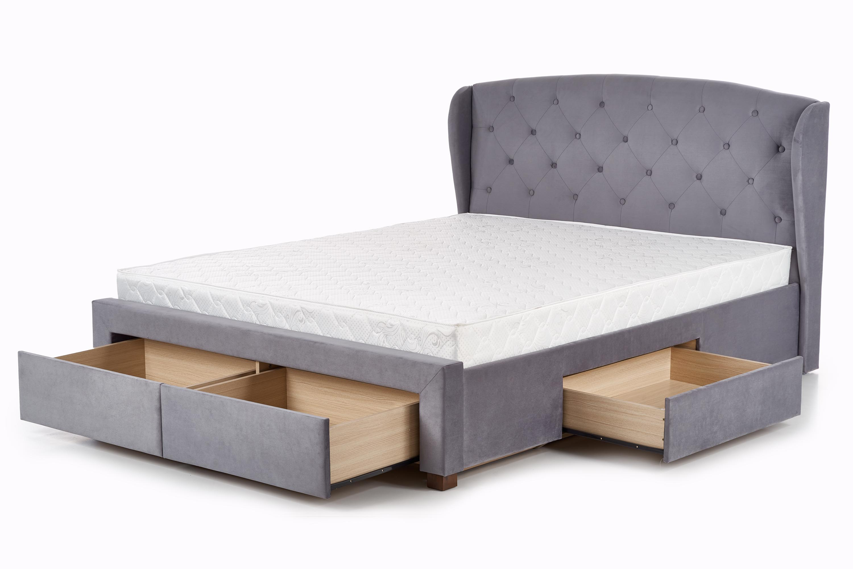łóżko Tapicerowane Sabrina 2 180x200 Szare Szuflady Halmar