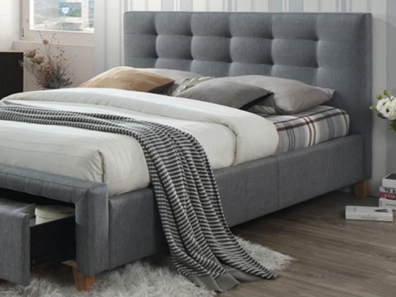 łóżko Tapicerowane Ascot Z Szufladami 160x200 Szare Dąb Signal