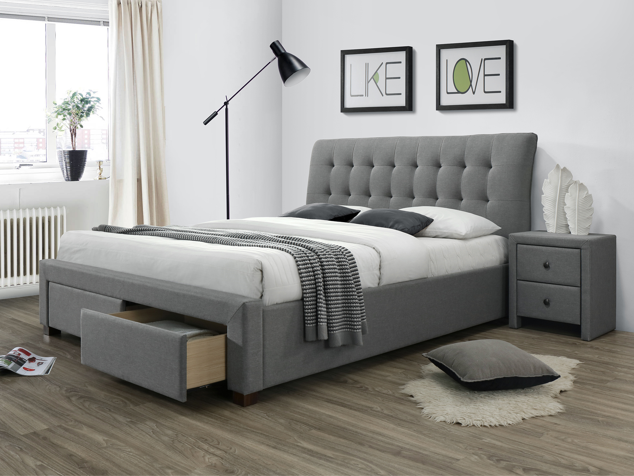 łóżko Tapicerowane Percy 160x200 Szare łoże Szuflady Halmar