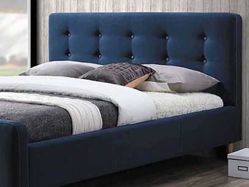 łóżko Tapicerowane Pinko 160x200 Granatowe łoże Signal