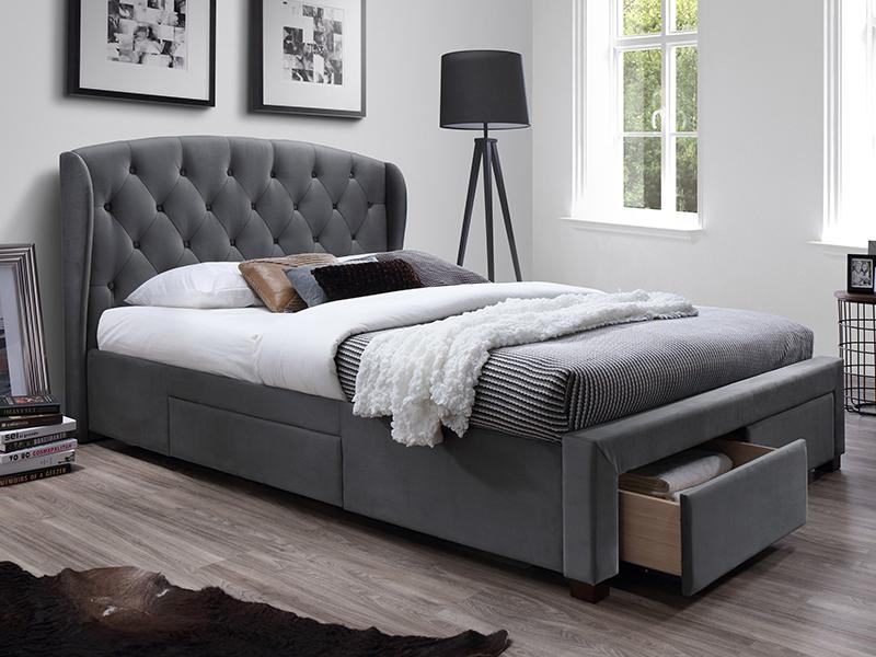 łóżko Tapicerowane Sabrina 160x200 Szare Szuflady Halmar