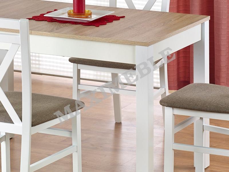 Nowość Stół drewniany MAURYCY 118-158 dąb sonoma biały HALMAR EQ41